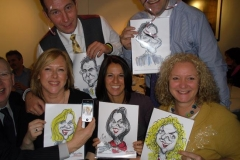 Group with live caricatures