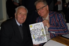 Tony Benn caricatured live at party