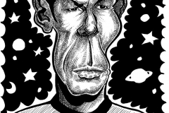 Caricature of Leonard Nimoy as Mr Spock
