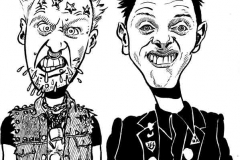 Caricature of Viv and Rick of the Young Ones