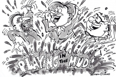 cartoon illustration of Guy and Simon Playing in the Mud