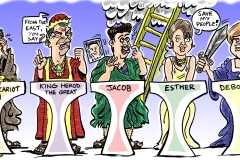 Cartoon illustration of Party Leaders as Biblical Figures