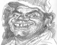 Caricature pencil sketch of Ernest Borgnine