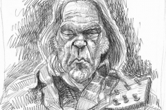 Pencil Sketch Caricature of Neil Young