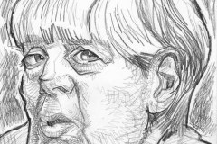 Pencil Sketch Drawing of Angela Merkel