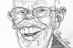 Pencil Sketch Drawing of Whispering Bob Harris
