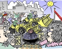 Cartoon Illustration of Grannies Taxi