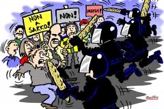 Topical Cartoon about French Riot Police