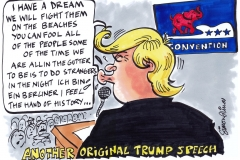 Topical Cartoon about President Donald Trump Speech Plagiarism