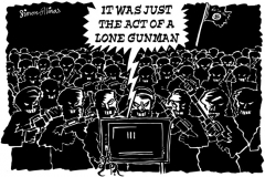 Topical Cartoon about Terrorist Lone Gunman