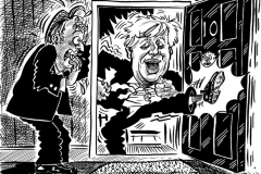 Topical Cartoon of Boris Johnson and David cameron Ten Downing Street