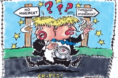 Topical Cartoon of Boris Johnson making U-Turns