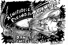 Topical Cartoon of President Donald Trump Xenophobia