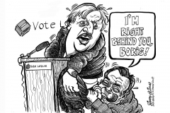 Topical Cartoon with Boris Johnson and Nigel Farage