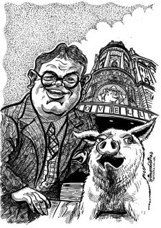 Caricature from photo gift black and white by caricaturist in London