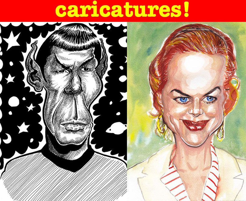 Caricatures by caricaturist in London Panel