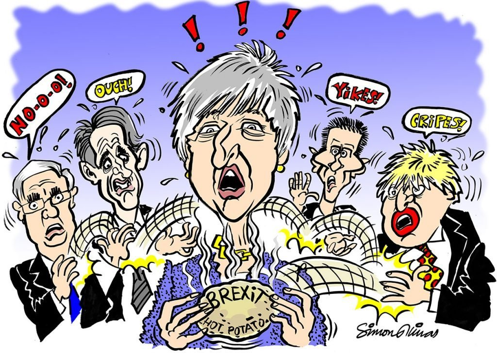 Cartoon of Theresa May and Brexit by Cartoonist and Caricaturist in London Simon Ellinas