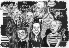 Black and White Group Caricature Gift from photos by caricaturist in London