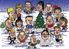 Colour Group Caricature Gift from photos by Caricaturist in London