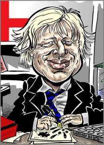 Caricatures of celebrity and politician Boris Johnson