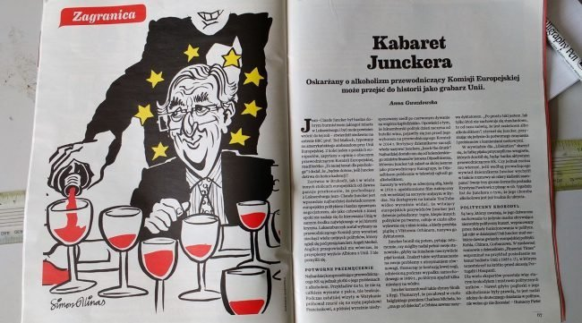 Cartoon of Jean-Claude Juncker in magazine