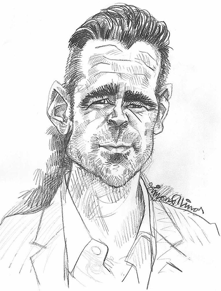Caricature pencil sketch drawing of Colin Farrell