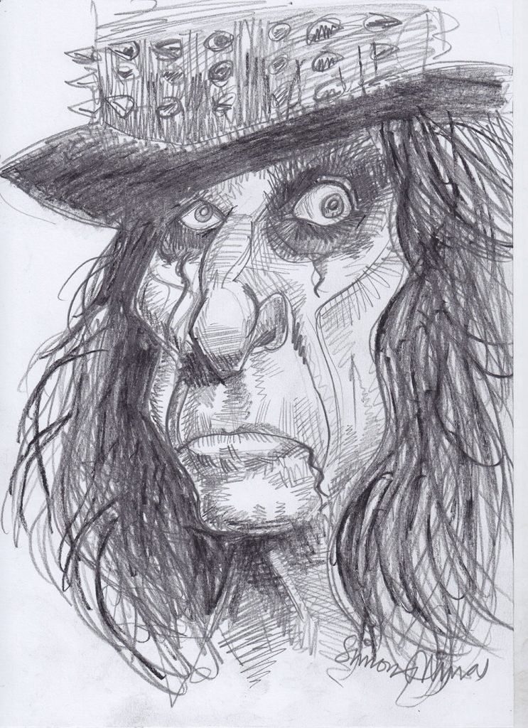 Pencil Sketch caricature of Alice Cooper