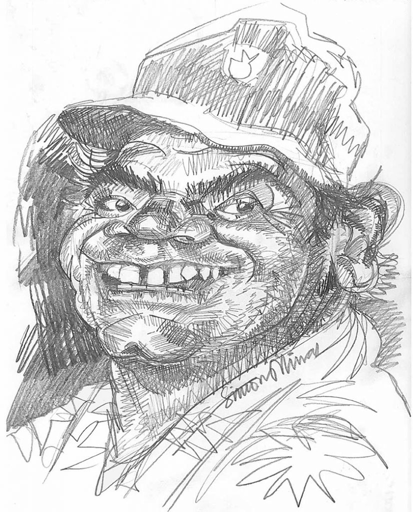 Caricature Pencil Sketch of Actor Ernest-Borgnine