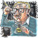 Caricaturist Simon Ellinas cartooning himself