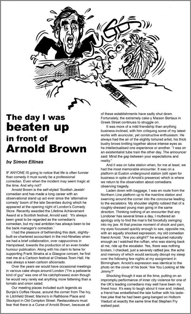 Cartoon Illustration of Comedian Arnold Brown