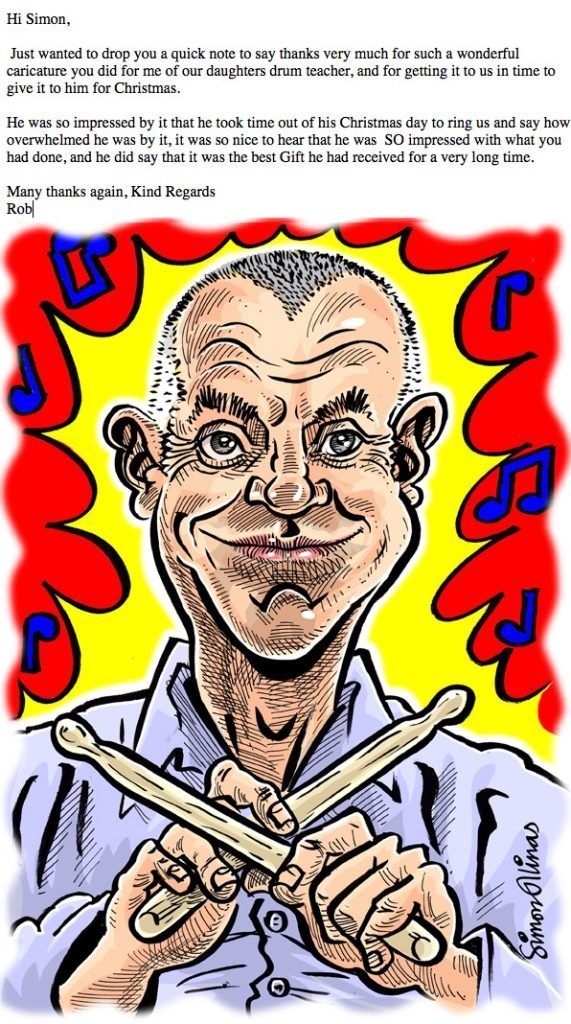 Testimonial email for Caricature drawn from photo by caricaturist in London Simon Ellinas