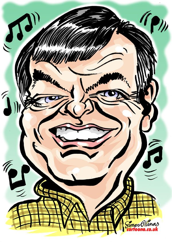 Caricature of BBC Radio One's Tony Blackburn