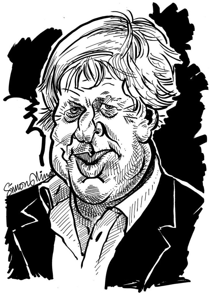 Boris Johnson Black and White caricature