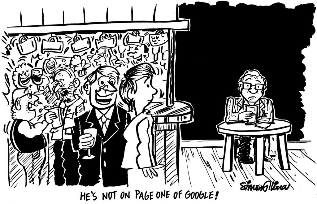 Caricaturist on page one of Google