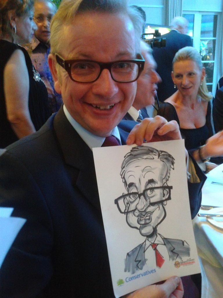 On the Spot Live Caricaturing by Cartoonist in London with Michael Gove