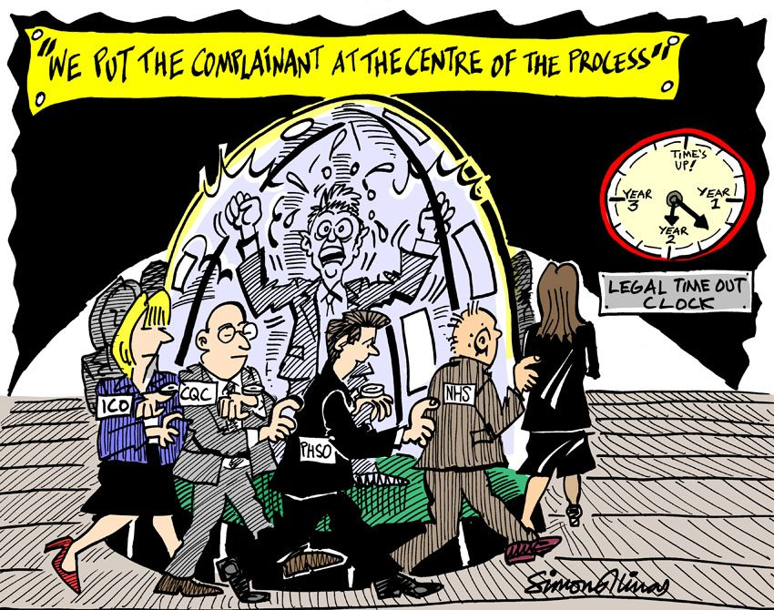 Cartoon Illustration of Complainant by cartoonist in London Simon Ellinas