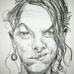 Caricature sketch of Tracey Emin