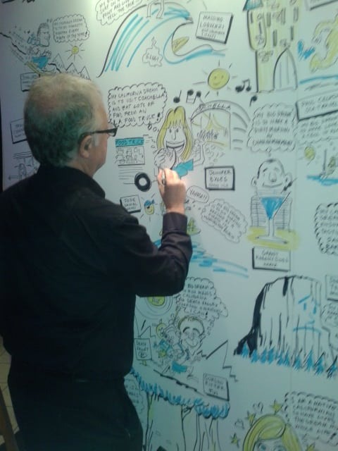 Cartoons drawn live at an event by Cartoonist and Caricaturist in London Simon Ellinas