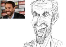 England Football Team Manager Gareth Southgate by Caricaturist in London