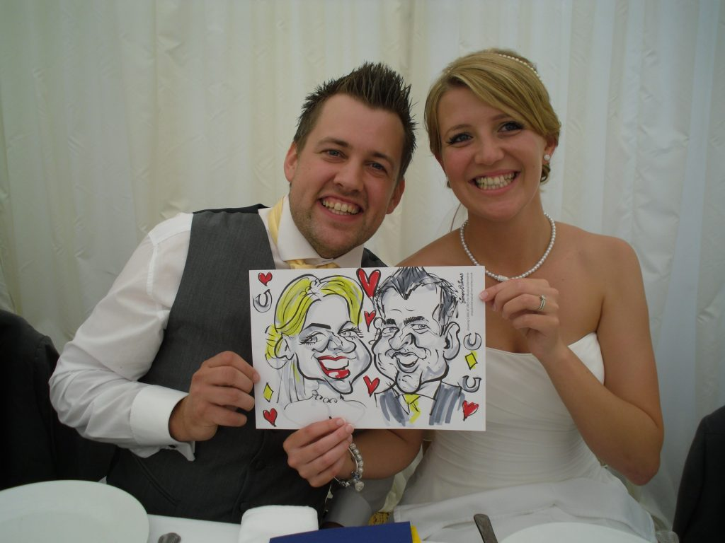 Bride and Groom Wedding Caricature by Caricaturist in London