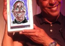 Digital Caricaturist drawing caricatures at party on Samsung Galaxy Note