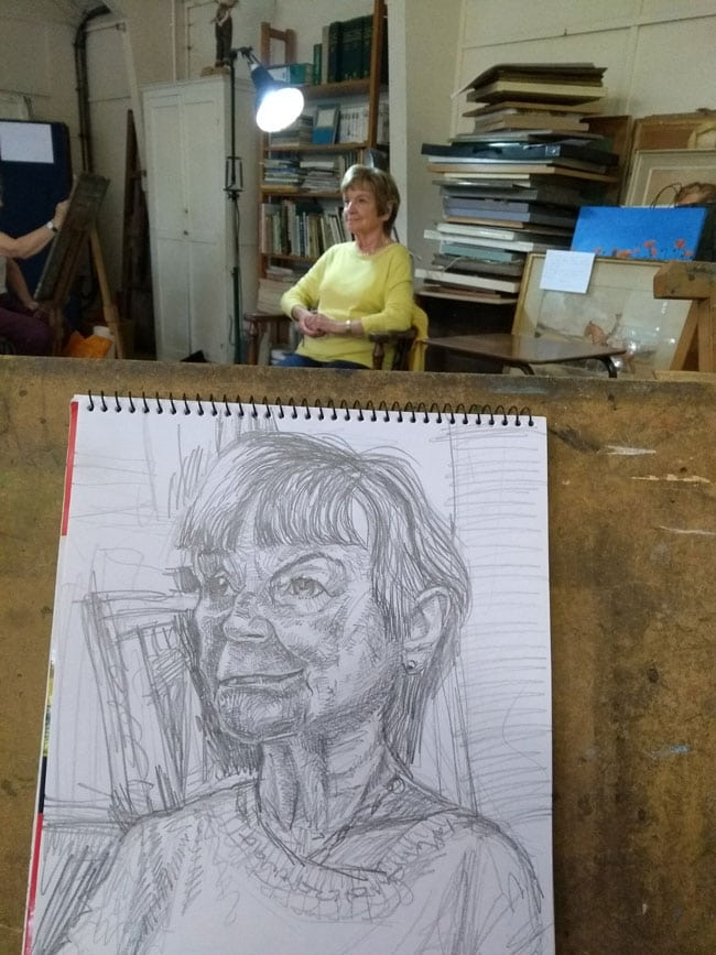 Drawing a portrait of Judith atBarnet Guild of Artists