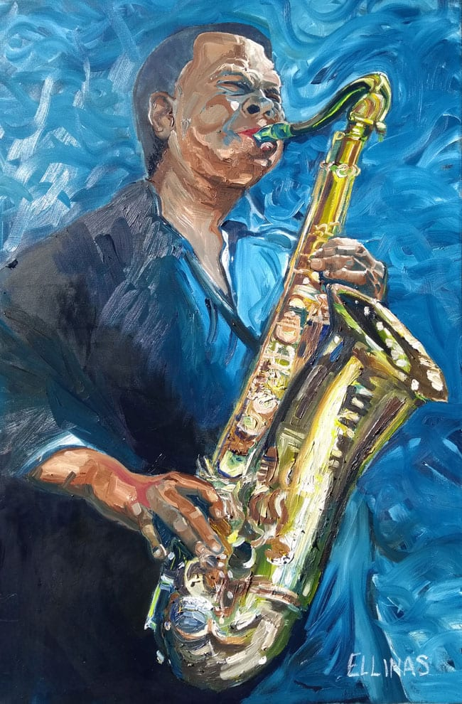 Oil painting of Saxophone Player