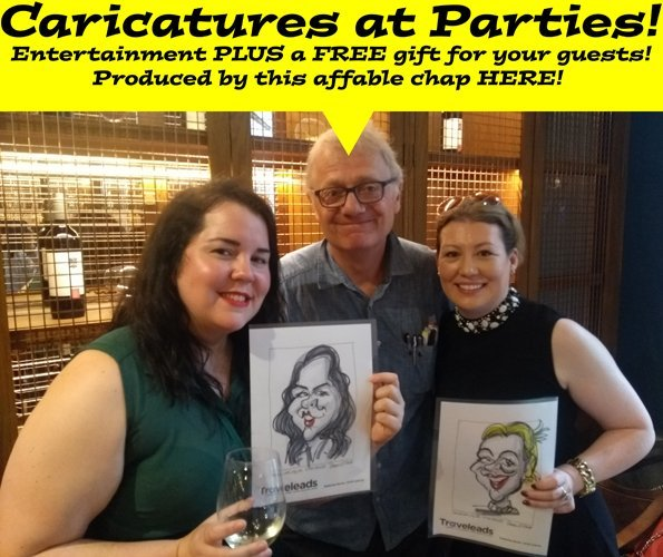 Caricaturist LIVE at parties and events Live Caricature on the spot of Michael Gove by caricaturist at party Caricatures drawn on the spot as entertainment at parties and events by a professional caricaturist are always popular – everyone loves to watch an artist draw – and they provide your guests with a unique memento of the special occasion. I'm particularly keen on company parties, corporate events and awards nights, especially if they take place within the London area. The traditional pen on paper method is often chosen but I am doing more live digital caricaturing jobs with the Apple iPad Pro. This way, the colour caricatures are emailed to each person on the spot and they can also be displayed on a large screen at the same time. Printing is also an option, so that your guests can more easily share with each other. I can be your on the spot caricaturist at all sorts of events: company parties, exhibitions, conferences, birthday parties, weddings, engagement parties, house-warming parties, stag parties, hen parties, product launches, golf days, team-building events, motor showroom launches -in fact any sort of event where a little unique entertainment is needed! As I've been a caricaturist for many years, and working for many newspapers and magazines, you can be assured of absolute satisfaction and maximum hilarity.