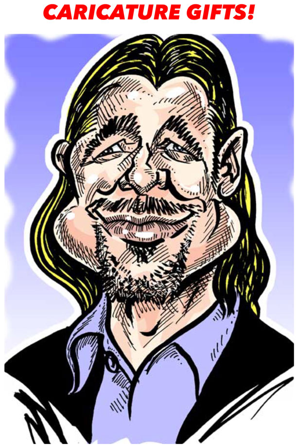 Caricatures drawn from photos as gifts for birthdays weddings anniversaries company events