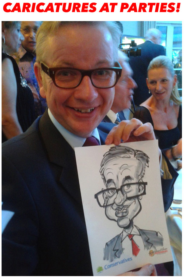 Caricatures drawn live on the spot at parties and events