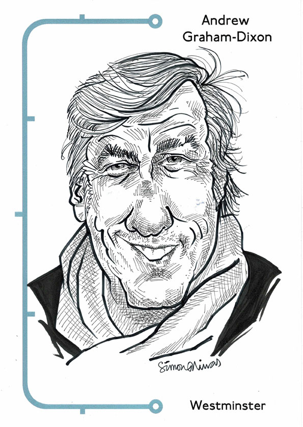 Caricature of Andrew Graham-Dixon