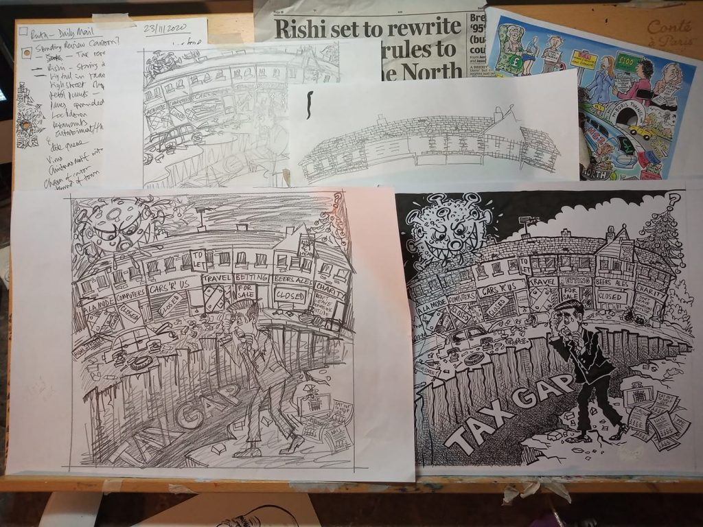 Rough paper stages for the Daily mail cartoon illustration