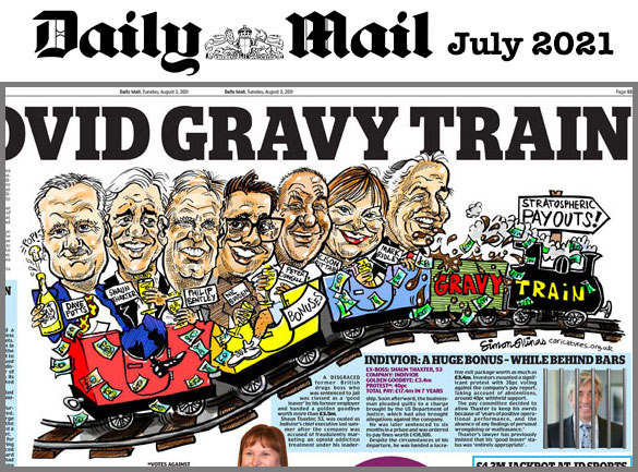 Cartoon Illustration of Gravy Train for Daily Mail newspaper
